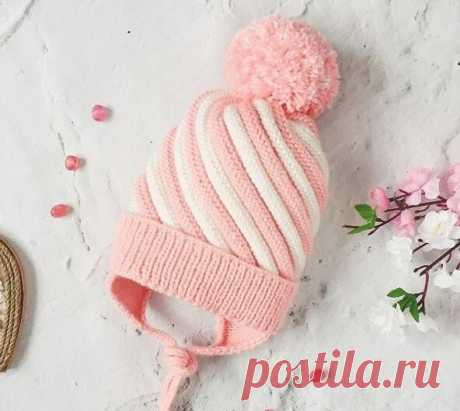 Зефирная детская шапочка. Описание шапки | Вязание спицами и крючком | Яндекс Дзен
