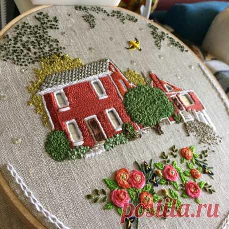 Вышитые домики Theresa Lawson Модная одежда и дизайн интерьера своими руками