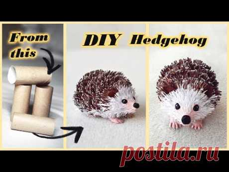 How to make paper HEDGEHOG🦔   DIY toilet paper/kitchen towel roll crafts - YouTube