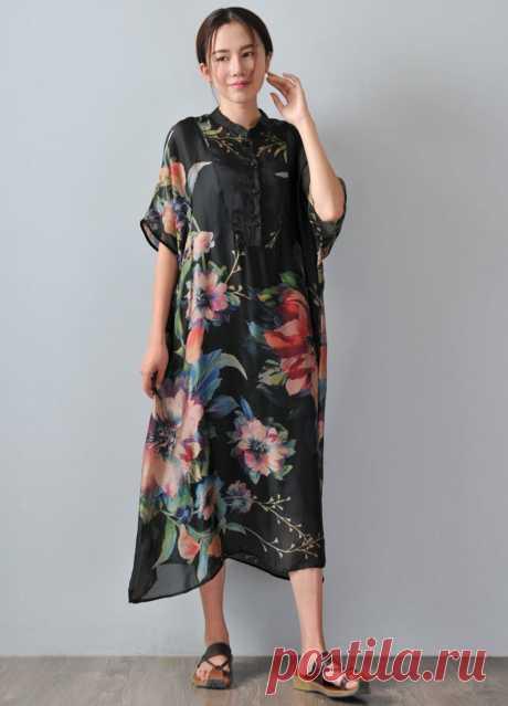 Black Silk Shirt Dress-Small Stand Collar Dress-Short Sleeve | Etsy