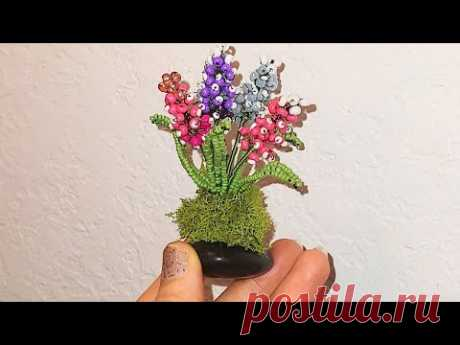 #цветы МИНИАТЮРНЫЕ МУСКАРИ ИЗ бисера МК от Koshka2015 - цветы из бисера,  бисероплетение DIY