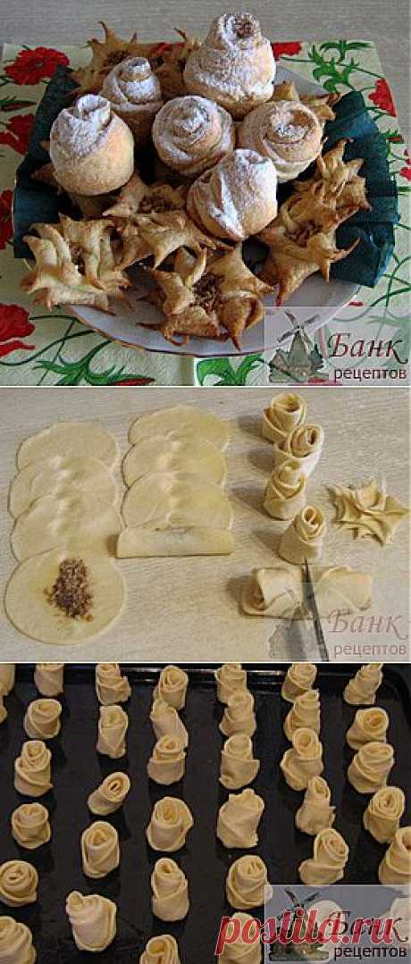 """La receta de las galletas con las nueces """"Розы"""" de la hojaldre"""