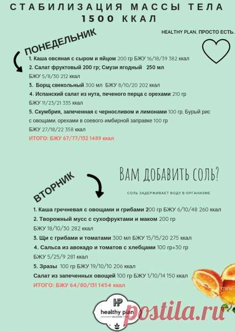 Стабилизация массы тела — 1500 ккал — HealthyPlan