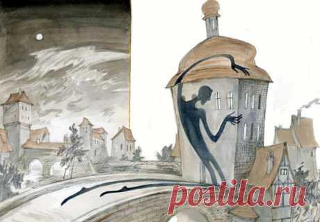 """Иллюстрация к очень интересной сказке """"Тень"""", которая рассказывает историю о том, как человек завидовал собственной тени."""