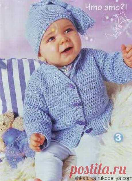 Костюм для малыша спицами Красивый голубой комплект для мальчика спицами. Вязание для малышей с описанием