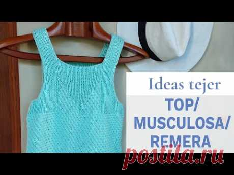 Idea para tejer top, musculosa o remera con tirantes 💡 Ideas de Lucila