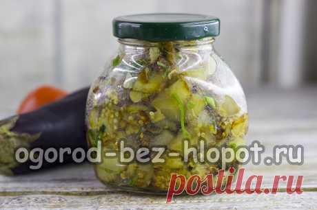 Баклажаны с зеленью и чесноком на зиму - пошаговый рецепт с фото