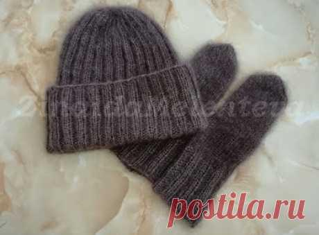Вяжем вместе: Комплект из шапки и варежек из мохера