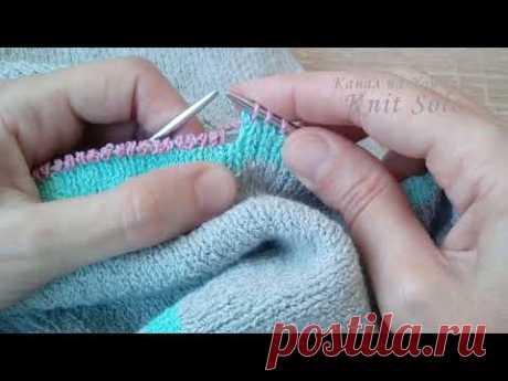 Смена нити на нить другого цвета без ступенек. Круговое вязание спицами. Knit Solo