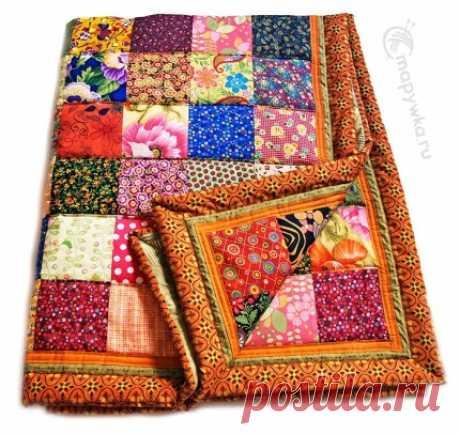 Одеяло лоскутное в яркой гамме - купить | Лоскутные одеяла (пэчворк) | HANDMADE интернет-магазин