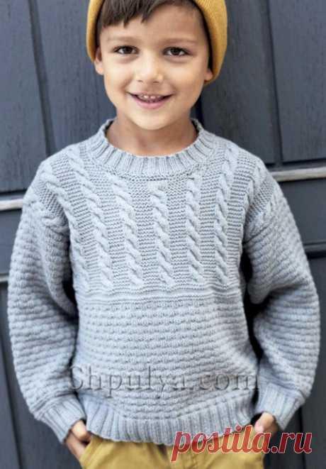 Джемпер с косами для мальчика из категории Интересные идеи – Вязаные идеи, идеи для вязания