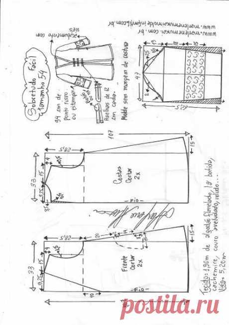 Casaco sobretudo fácil   DIY - molde, corte e costura - Marlene Mukai