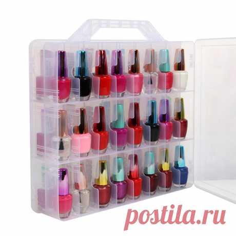 Прозрачный лак для ногтей Органайзер держатель чехол для 48 бутылок регулируемые разделители лак для ногтей бутылка рукоделие губная помада коробка для хранения|Ящики и баки для хранения| | АлиЭкспресс