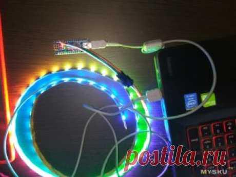 Цветомузыка на WS2812 и Ардуино Уно для ПК - создание световых эффектов своими руками, описание библиотеки Adafruit_NeoPixel, управление конструктором дисколюкс с экрана компьютера