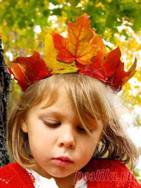 Корона из осенних листьев - Поделки с детьми | Деткиподелки