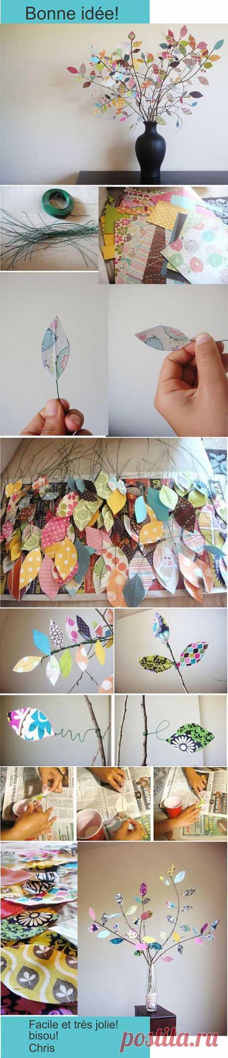 дерево из бумаги и веточек