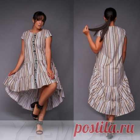 Платье в полоску трапеция с воланами : летнее стильное платье. Доставка. Скидка.
