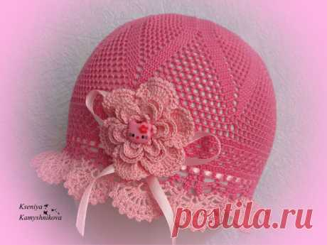 Ажурная летняя шапочка для девочки крючком схема