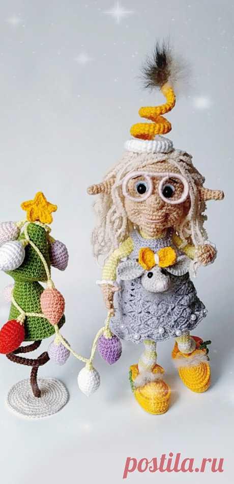 PDF Эльфа Агнесса крючком. Crochet pattern; Аmigurumi doll patterns. Амигуруми схемы и описания на русском. Вязаные игрушки и поделки своими руками #amimore - пупс, кукла, куколка, эльф.