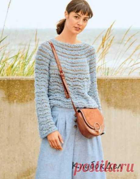 Пуловер с круглой кокеткой из разной пряжи