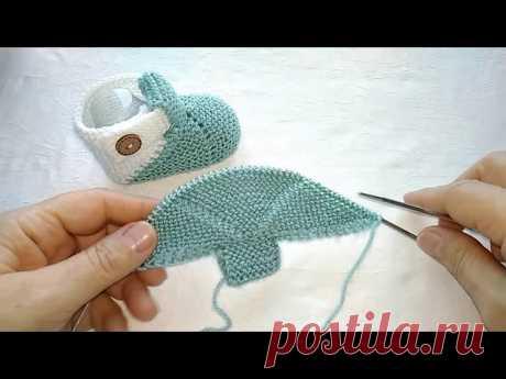 Вязаные детские пинетки спицами без шва | Вязание спицами для детей
