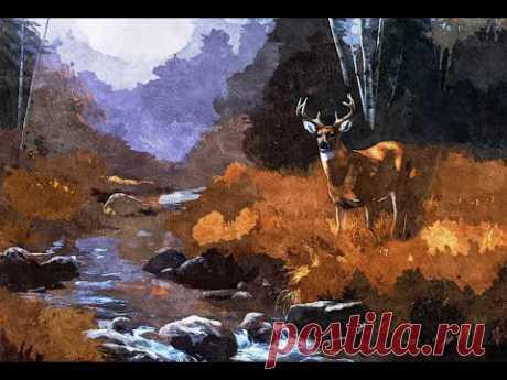 Лесной пейзаж с оленем. Как рисовать пейзажи гуашью. Часть №1