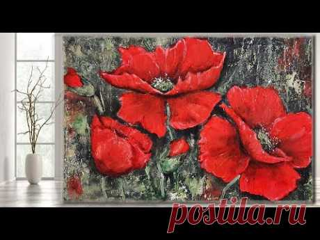 Red Poppies STEP by STEP Acrylic Painting/ Texture/ MariArtHome