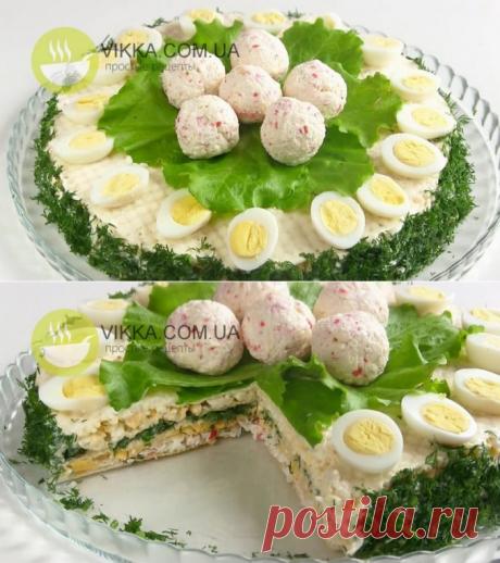Закусочный Торт из вафельных коржей с Крабовыми палочками - VIKKA.COM.UA