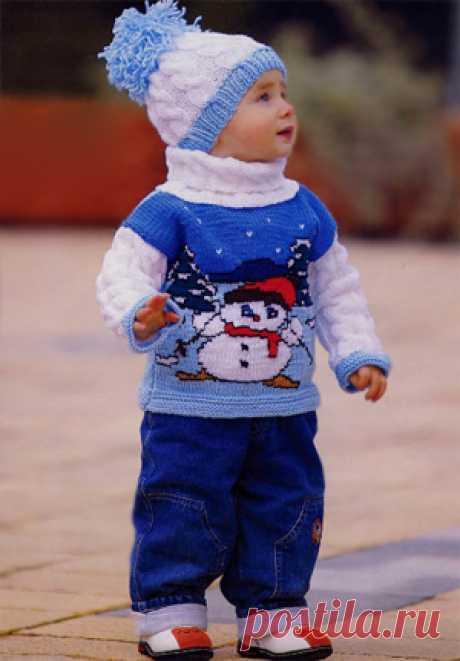 Свитерок для мальчика со снеговиком спицами