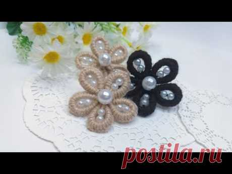 DIY 🌺  Цветы из пряжи БЕЗ спиц и крючка   Шьем иголкой  |Easy Flower Embroidery 🌺 - YouTube