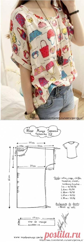 Блузка с японским рукавом.Выкройки размеры 36-58