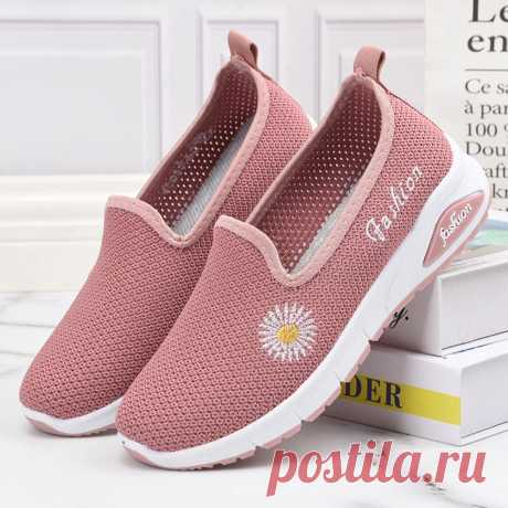 Women Daisy Decor Mesh Comfy Breathable Casual Slip On Sneakers - US$22.99