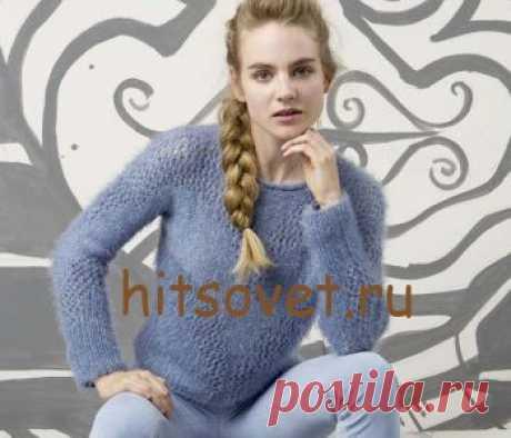 Красивый пуловер женский - Хитсовет Красивый пуловер женский. Модная модель женского пуловера нежно голубых оттенков с бесплатным описанием и схемой вязания. Вам потребуется: пряжа LANGYARNS CARA (полиамид, шелк) 150 (200, 250, 300) грамм = 3 (4, 5, 6) мотков голубого (931.0033) цвета и пряжа LANGYARNS MARISA (100% хлопок) 250 (300, 400, 450) грамм = 5 (6, 8, 9) мотков голубого (9.0021.) цвета LANGYARNS. Спицы № 5. Короткие круговые спицы № 5.