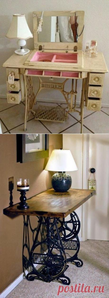 Мебель из старинных швейных машинок