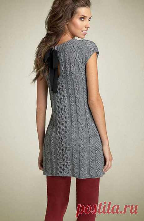Женские платья-сарафаны с карманами спицами – 6 схем вязания с описанием, видео