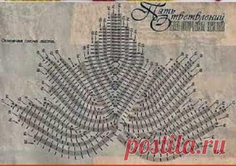 Вязание крючком Crochet Бисероплетение: Кленовый лист Часть 1 The maple leaf Crochet Part 1