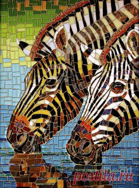 Zebra Glass Mosaic by Cynthie Fisher Zebra Glass Mosaic Painting by Cynthie Fisher