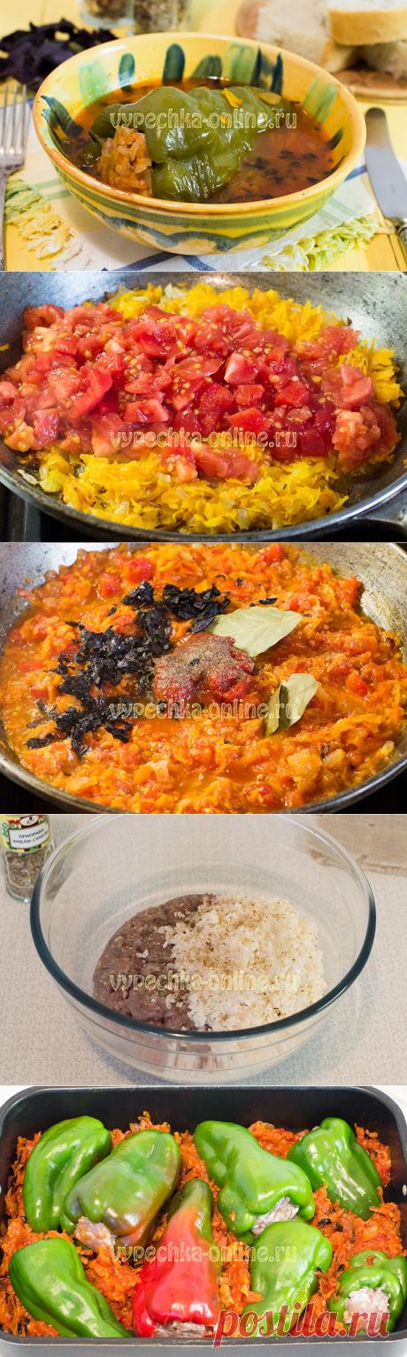 ✔️Фаршированные перцы с фаршем и рисом запеченные в духовке – рецепт с фото