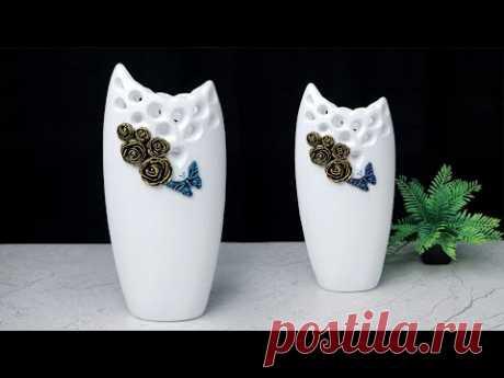 Cement flower vase || Look like Ceramic Flower Vase Making at Home || सीमेंट फूलदान