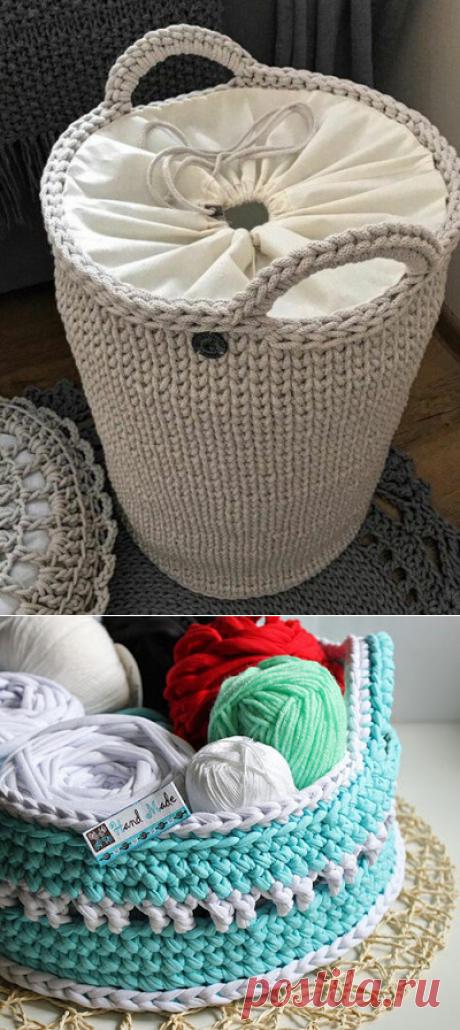 1000 идей для вязания спицами: Интерьерные корзинки