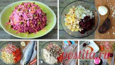 """Салат «Конфетти»  Салат """"Конфетти"""" по вкусу напоминает салат """"Сельдь под шубой"""", а вот по внешнему виду он намного ярче, торжественнее и оригинальнее. Без сомнения, он станет отличным вариантом для новогоднего стола! Для того, чтобы горка вкусного салата заиграла красками и превратилась в салат """"Конфетти"""", я воспользовалась приёмом подкрашивания майонеза овощными соками, а также задействовала горошек - получилось супер, обязательно буду готовить этот салат и в будущем! Показать полностью..."""