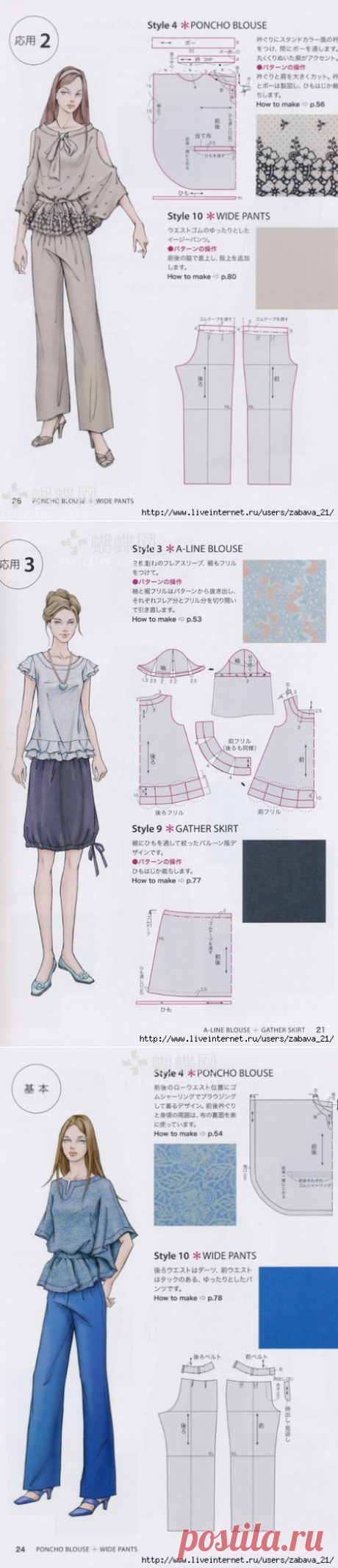 PATTERNS OF BLOUSES. IT IS A LOT OF