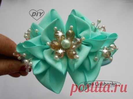 (350) Бант-цветок на ободок МК/ Bow. Flower for rim. DIY/ Tutorial. Bow da fita - YouTube