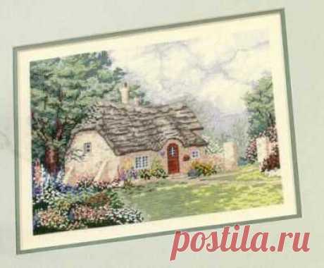 схема для вышивки крестом пейзажа Весенний котедж в цветах