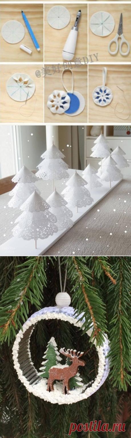 Снежинки из ватных дисков и картона
