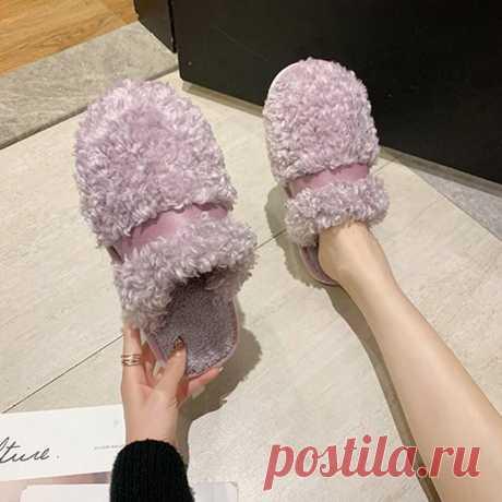 Women Flower Decor Non Slip Home Comfy Plush Cotton Slippers - US$18.55