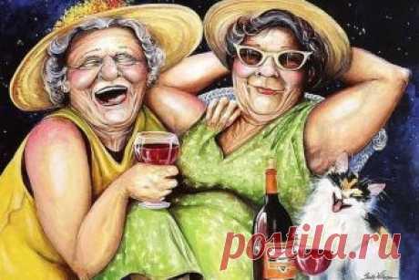 Есть бабки зануды и бабки грустяшки, Есть просто тихони, а есть нескучашки. Такие всегда рады жизни и солнцу, И алой герани, цветущей в оконце. Тоскливому небу и старому деду, Зонту и прогулкам в дождливую среду. Они над собою не прочь посмеяться И им даже в старости просто влюбляться.  Такие старушки всегда веселушки, Смеяшки извечные и хохотушки. Они видят мир одеялом лоскутным И им никогда он не кажется нудным. А если им вместе собраться - держись! Они, словно радуга, р...