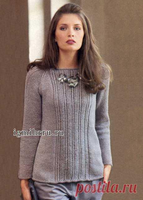 Пуловер-реглан с вертикальными ажурными полосами. Вязание спицами
