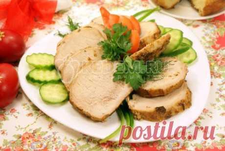 Буженина «К пасхальному столу» Вкусная буженина «К пасхальному столу», это совсем не сложно.   Зато какие аппетитные и ароматные получатся кусочки мяса.
