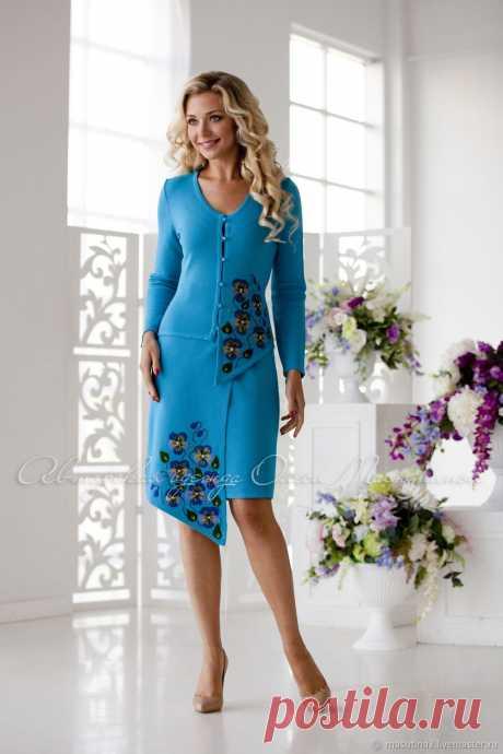 """Купить Костюм """"Лагуна"""" - бирюзовый, платье на заказ, вязаный костюм, женский костюм, деловой костюм"""